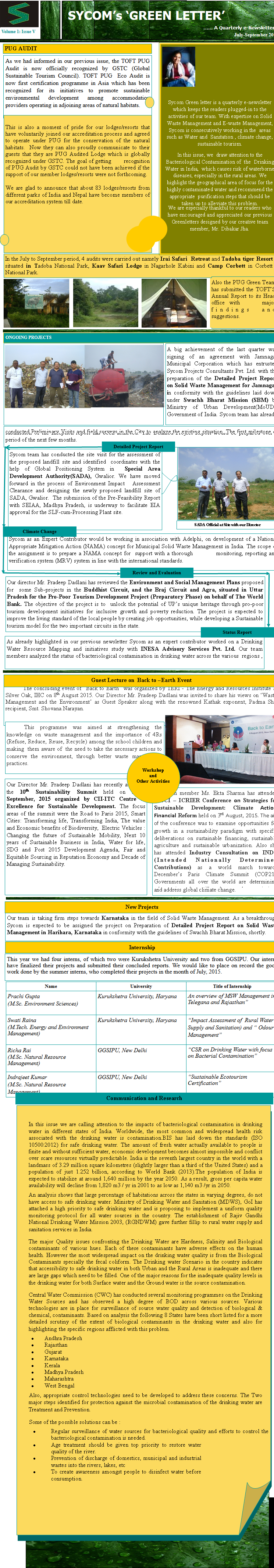 Newsletter volume – 1 issue -5