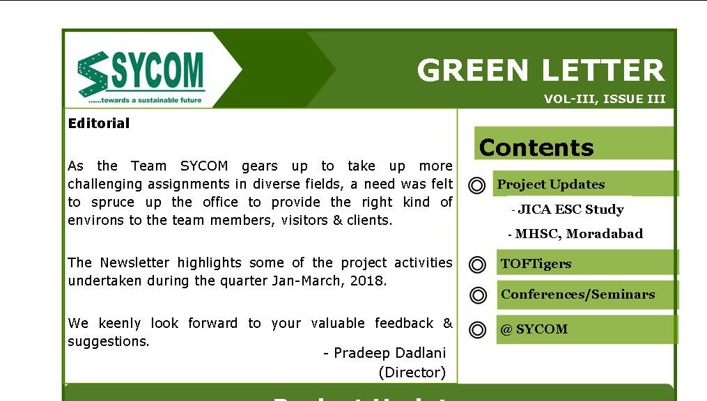 SYCOM'S GREEN LETTER – VOLL-III, ISSUE -III